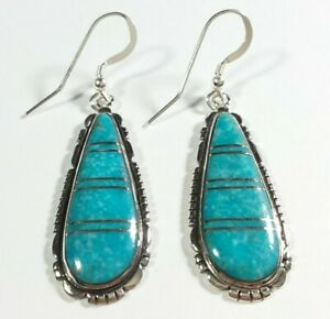 925-STERLING-SILVER-SOUTHWEST-STYLE-ETCHED-TURQUOISE-2-1-8-034-HOOK-EARRINGS