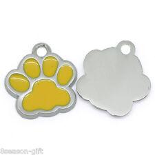 50PCs Metal Charm Pendants Enamel Yellow Dog Paw Silver Tone 18mm x 17mm