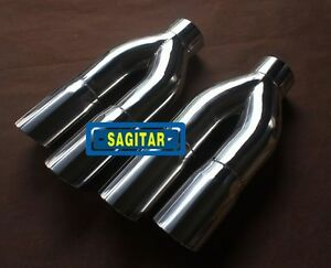"Exhaust Tip 3/"" Inlet  4/"" outlet Slanted Dual Twin Round 9/"" Long Stainless Steel"