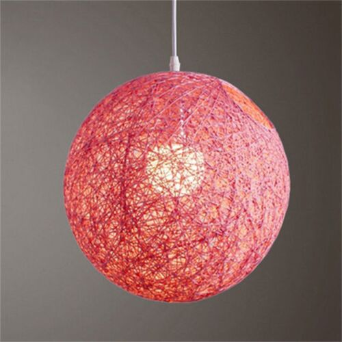 Rattan Wicker Ball Ceiling Light Pendant Round Lamp Shade Simple Fixtures Home