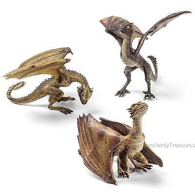 GAME OF THRONES 3p BABY Dragon Statue FULL Set DROGON RHAEGAL & VISERION Noble