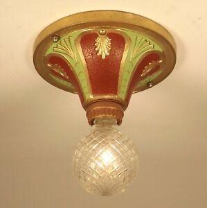 Vintage-1920s-Victorian-Art-Deco-Single-Light-Flush-Ceiling-Fixture-RESTORED
