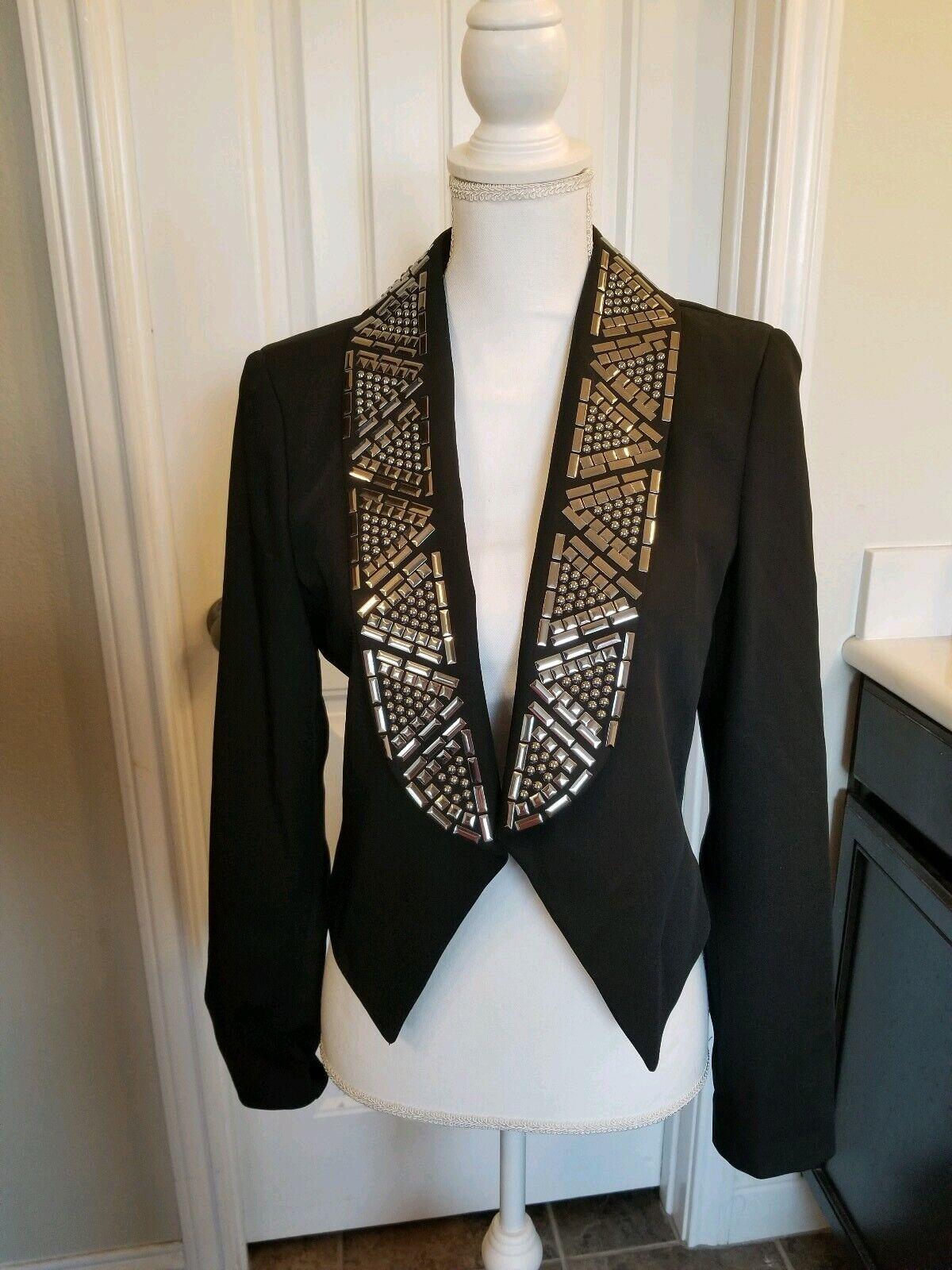 Bebe cropped jacket with shiny metal neckline