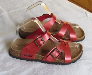 7e7493733593 NEW Betula By Birkenstock Ladies Red Shimmer Mules Sandals UK Size ...