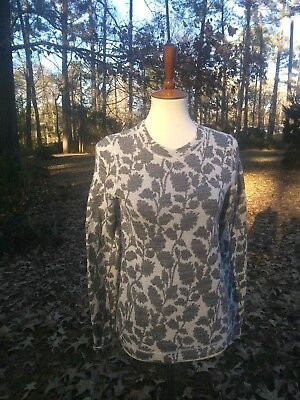 ANN TAYLOR LOFT Gray and Taupe Floral Knit Crewnck Sweater size SMALL | eBay