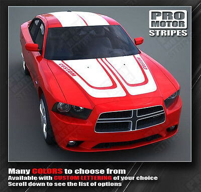 Choose Color Roof /& Rear Stripes Decals Dodge Charger 2011-2014 Racing Hood
