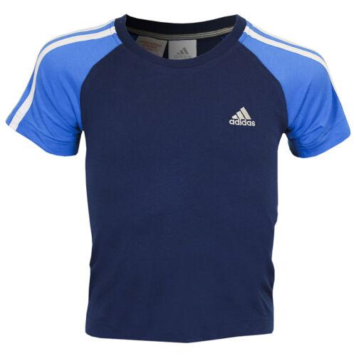 adidas Kids 3SA Crew Tee Size 22//24 Deeproyal//Pool RRP £17 BNWT