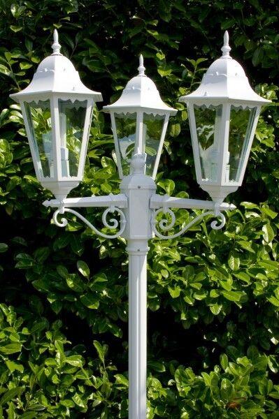 Lampione 3 Lanterne Bianco Casa di campagna Lampioncino Classico Giardino 10357