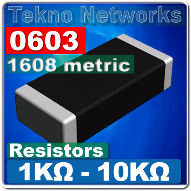 0603 ( 1608 Metric ) SMD / SMT Resistors - 100pcs [ Range: 1K -10K Ohm ]