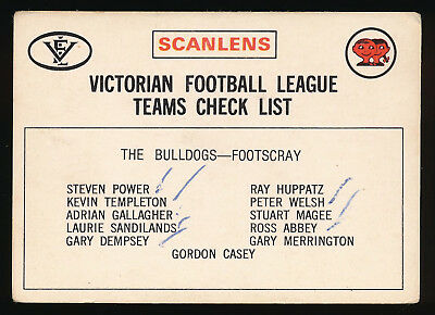 More Discounts Surprises Sports Trading Cards 1975 Scanlens Footscray Bulldogs Checklist Card White Back
