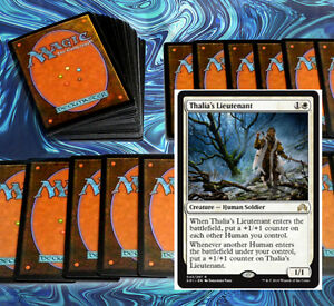 mtg-WHITE-HUMANS-DECK-Magic-the-Gathering-rare-60-cards-thalia-039-s-lieutenant-SOI