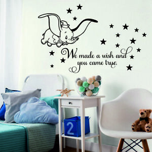 Details About Dumbo Wall Stickers We Made A Wish Stars Kids Baby Bedroom Decor Disney Font