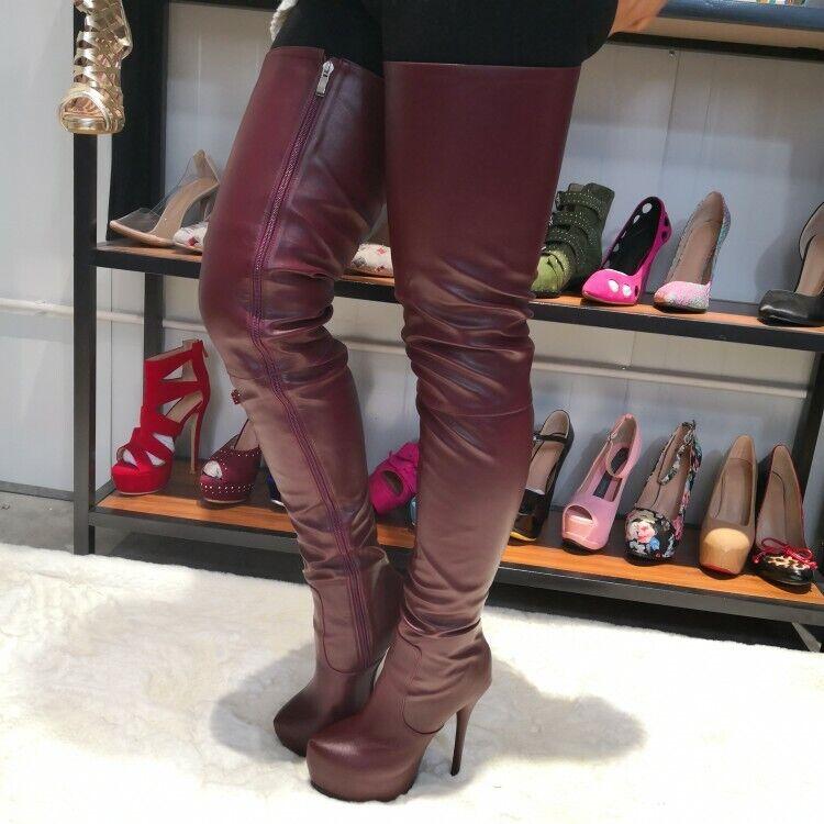5.8'' Super High Heels donna Thigh-High stivali Round Toe Stilettos scarpe Side Zip