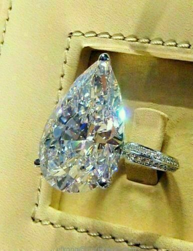 Details about  /2.80Ct Pear Cut Moissanite Diamond Solitaire Engagement Ring 14K White Gold Over