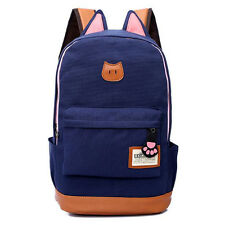 item 1 Womens Ladies Canvas Backpack Cute Cat Ear Rucksack Travel Shoulder  School Bag -Womens Ladies Canvas Backpack Cute Cat Ear Rucksack Travel  Shoulder ... b4ece2dfb9c8f