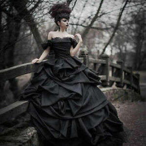 Victorian Wedding Dresses.Details About Tiered Ruffles Gothic Black Wedding Dresses Off Shoulder Victorian Bridal Gowns