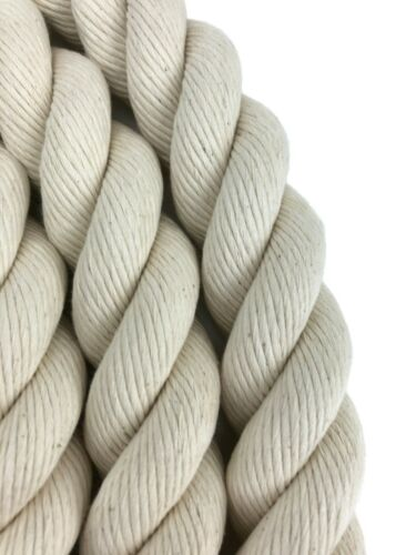 28mm Natural Cotton Bannister Rope x 17 FT x 7 Satin Fittings With 7 Wood Mounts