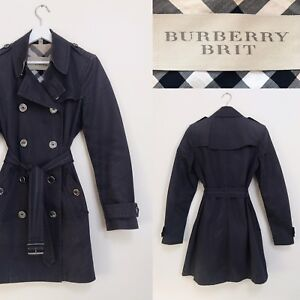 c71c34999b6 Burberry Brit Trench Coat Navy Blue Classic Mac Raincoat Size S M UK ...
