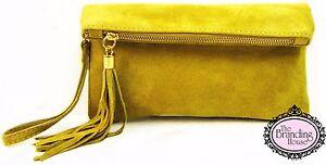 ladies-yellow-suede-tassel-clutch-bag