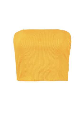 Donna Tinta Unita Boob Tube Senza Spalline a Fascia Stretch Vest Rib Reggiseno Crop Top
