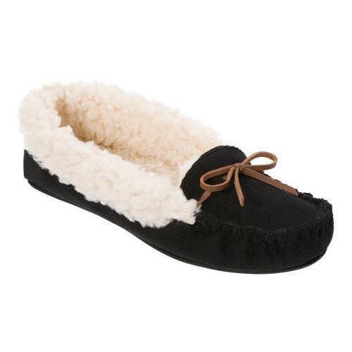 Dearfoams Women&#039;s Mixed Material Moccasin Slipper,Black,<wbr/>US XL