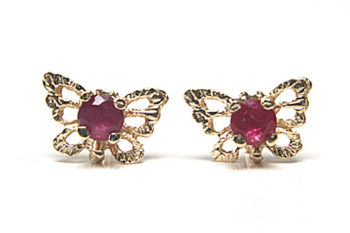 9ct gold Ruby filigree Butterfly Stud earrings Gift Boxed Made in UK