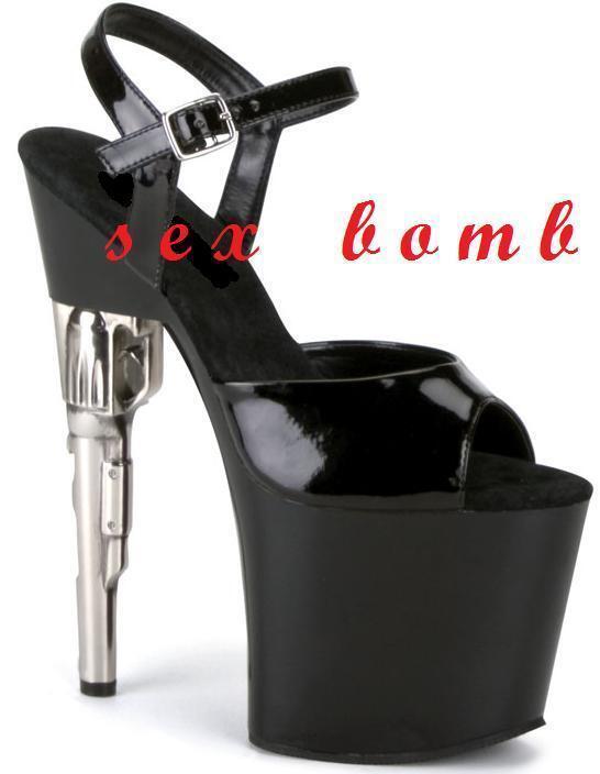 SEXY sandali NERI cinturino plateau TACCO revolver 19 da 35 a 42 fashion GLAMOUR