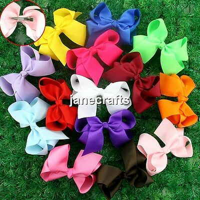 "14pcs Big 4.5"" Hair Bow Clips Boutique Girl Baby Grosgrain Ribbon Mix 14 Colors"