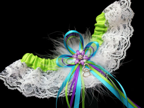 PLUS SIZE Pretty APPLE Green PURPLE TURQUOISE Wedding Bridal Lace GARTER PROM