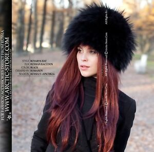 c2310c4833548 BLACK Russian raccoon Luxury original women's fur hat for a natural ...