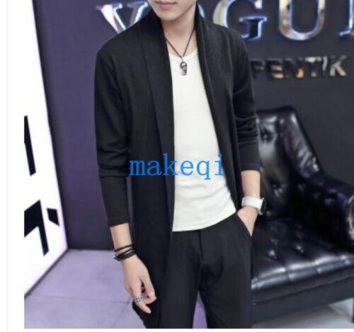 Fashion homme à manches longues Cardigan en mailles pull Air Shirt Outwear Vestes Manteaux
