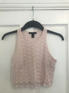 a9cbf7228258f Image is loading Ladies-Forever-21-Size-Small-Pink-Lace-Crop-