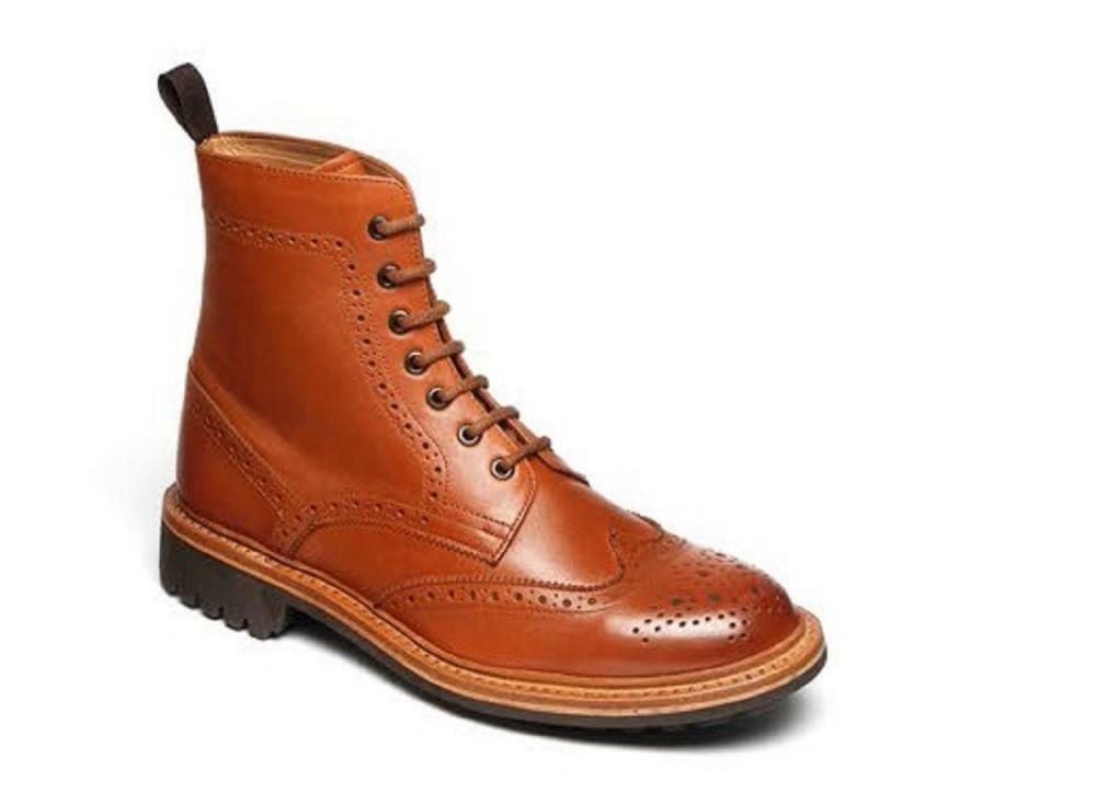 Mens Catesby 1140 Tan Leather Brogue avvio  Good year Welted Commando Sole UK 7 -12  80% di sconto