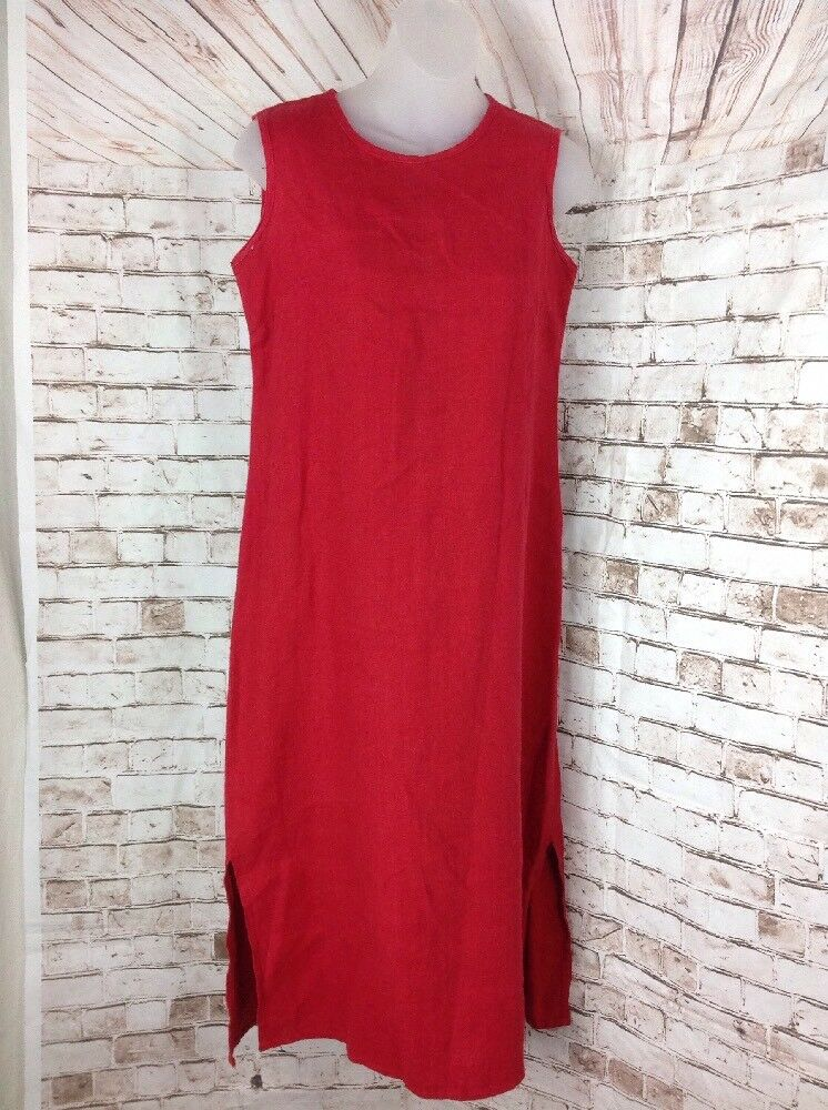 Studio Ease Woman Red 100% Linen Casual Tunic Jumper Maxi Dress Petite Sz 4P SP