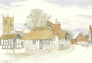 N.K. Day - Contemporary Graphite Drawing, Village View with Thatched House