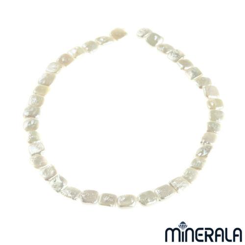 """en naturelles d/'eau douce perle blanche carré Biwa 10 mm Perles 15.5/"""" Strand"""