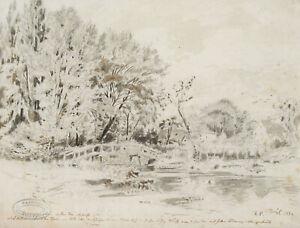 PÜTTNER, Ländl. Idylle mit Brücke über Fluss, dahinter Höfe, 1882, Bleistift