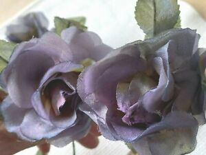 """Vintage 1950s Rose 3"""" Leaves Silk Flower Dusty Blueberry 1pc Made in Japan"""