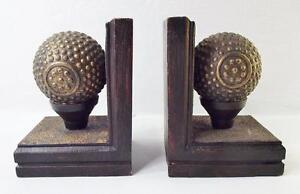 Art Deco Look vintage chalkware art deco look golf ball bookends, bronze finish