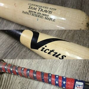 SAM TRAVIS BOSTON RED SOX GAME USED BROKEN BASEBALL BAT