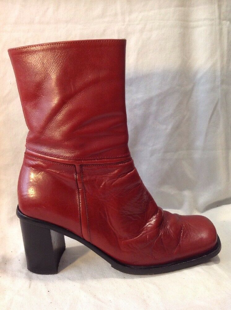 Bertie Red Mid Calf Leather Boots Size 39