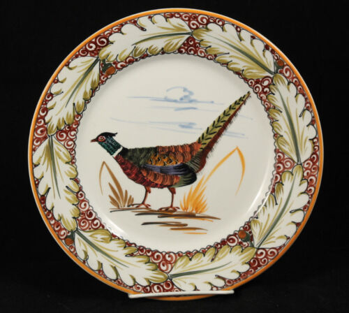 Vntg Italian Ceramic Plate Pheasant Hand Painted Mamcioli Montelupo Collectible