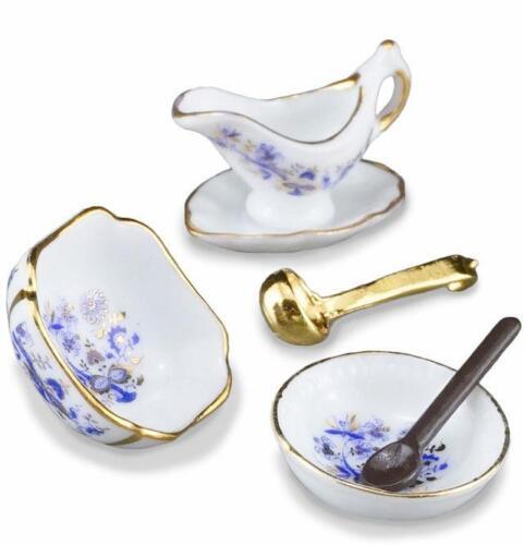 DOLLHOUSE Blue Onion Serving Set w Bowls 1.449//5 Reutter Miniature 1:12 gemjane