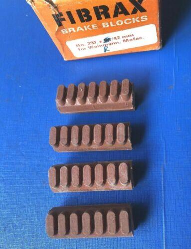 NEW VINTAGE 1970s RED FIBRAX 291 BRAKE BLOCKS,42MM LONG,IDEAL FOR MAFAC,WEINMANN