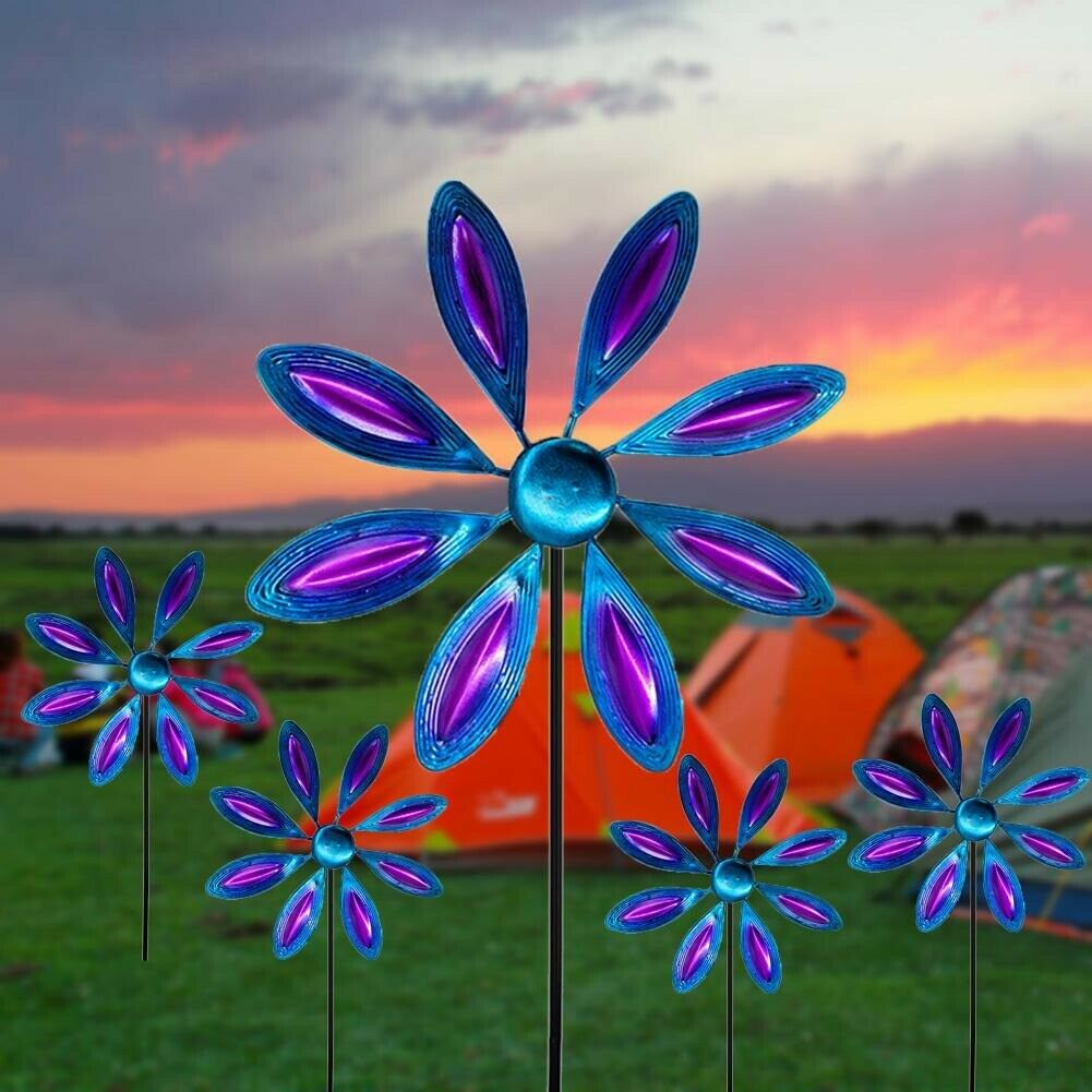 Iron Windmill Colorful Willow Leaves Dual Direction Wind Spinner Outdoor Garden