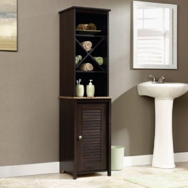 Linen Storage Cabinet Tower Bathroom Free Standing Organizer Furniture Shelf New