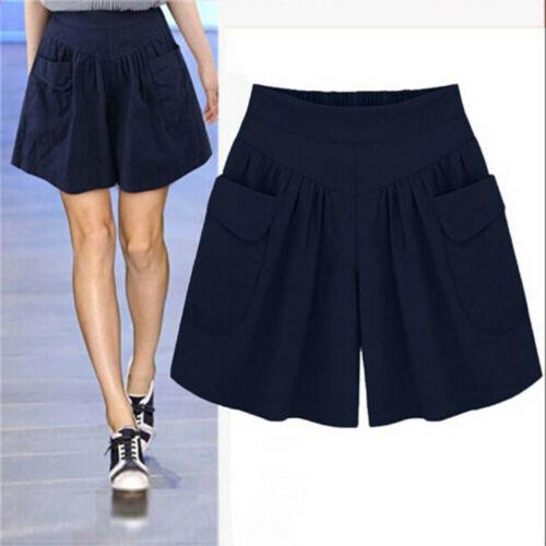 Fashion Women Summer Plus Loose Pants Shorts Pocket Elastic Waist Trouser L-5XL
