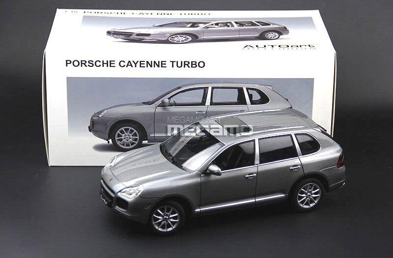 1/18 Autoart Porsche Cayenne Turbo 2018 1st GEN Gris Met Gris Diecast apertura total