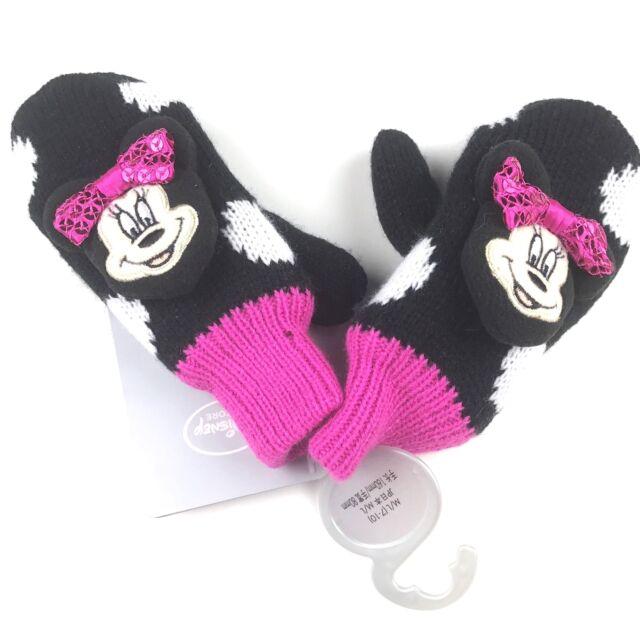Disney Store Minnie Mouse Mittens Medium Large 7-10 Girls Black Pink Polka Dot