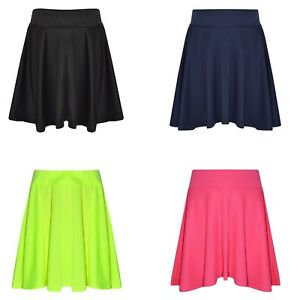 Girls-Kids-Skater-Skirts-School-Fashion-Summer-Plain-Skirts-New-Age-7-13-Years